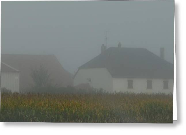 Cottage In Mist Greeting Card
