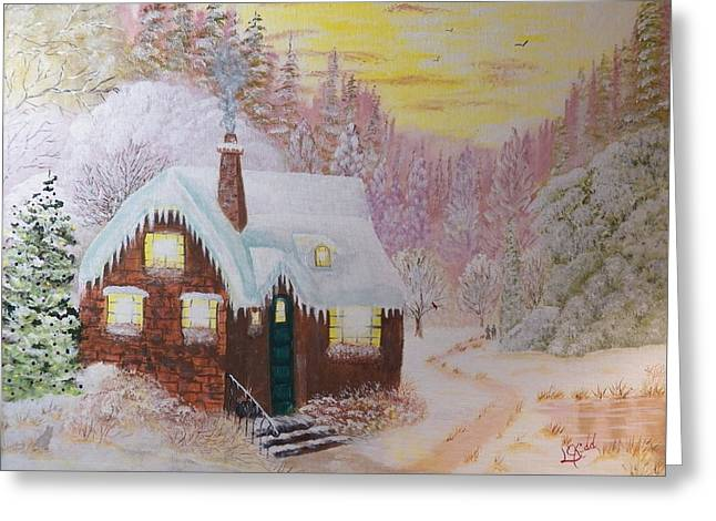 Cottage In The Woods Greeting Card by Laurie Kidd