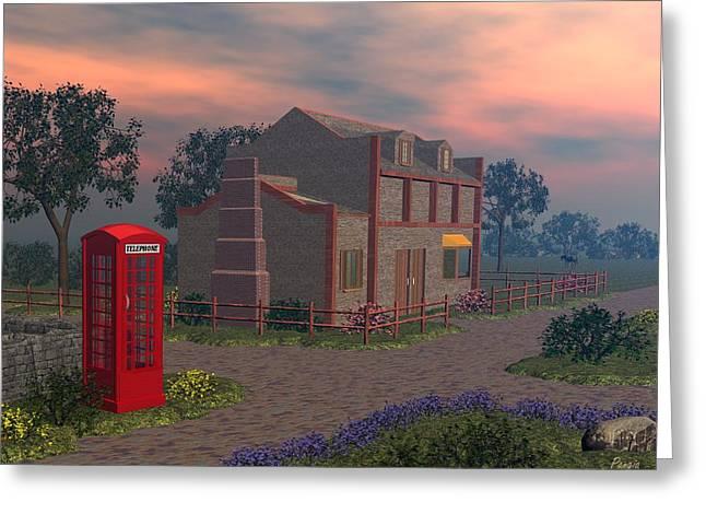 Cottage Lane Greeting Card by John Pangia