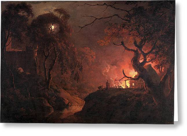 Cottage On Fire At Night Signed And Dated Greeting Card by Litz Collection