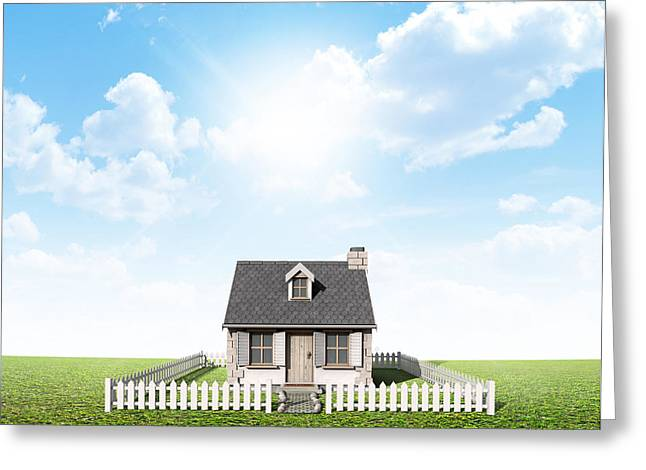Cottage On Green Lawn Greeting Card