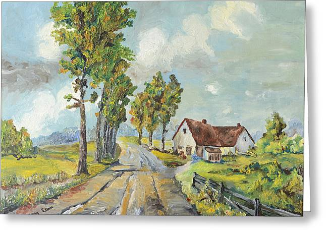 Greeting Card featuring the painting Cottage On Poplar Lane by Mary Ellen Anderson