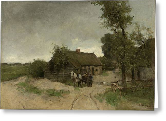 Cottage On The Sand Road, Anton Mauve Greeting Card