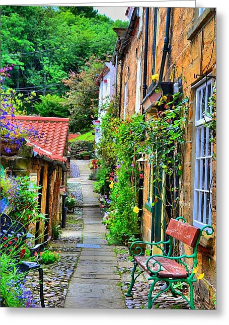 Cottage Row Greeting Card by Dave Woodbridge