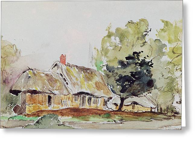 Cottage Under Large Trees In Summer Greeting Card by Ferdinand Victor Eugene Delacroix