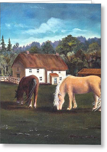 Cottage With Shetland Ponies Greeting Card by Diane Daigle