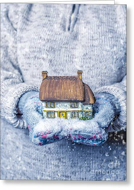 Cottage With Snowfall Greeting Card by Amanda Elwell