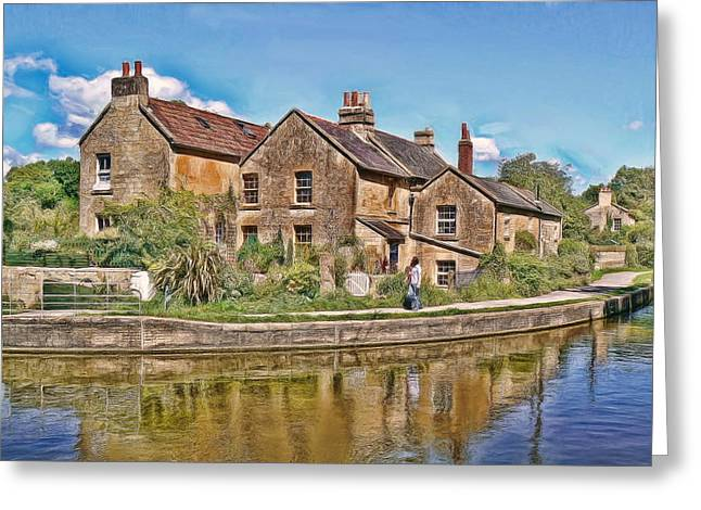 Greeting Card featuring the photograph Cottages At Avoncliff by Paul Gulliver