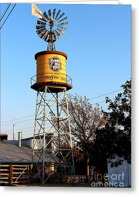 Cotton Belt Route Water Tower In Grapevine Greeting Card by Kathy  White