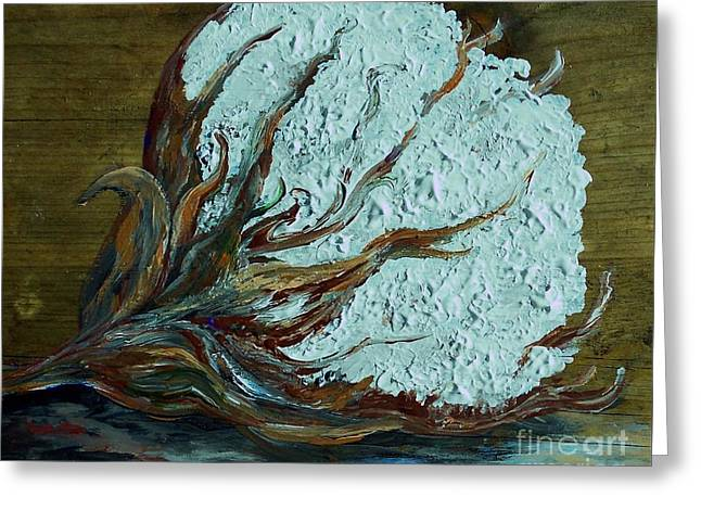 Cotton Boll On Wood Greeting Card