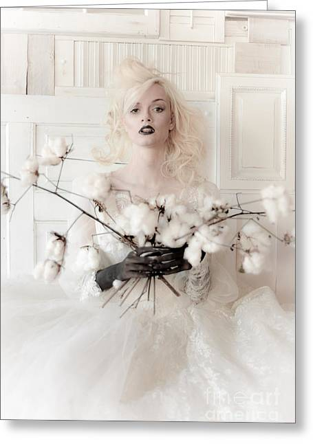 White Cotton Bouquet Greeting Card by Jt PhotoDesign
