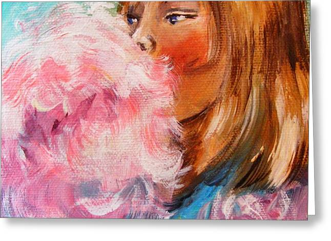 Greeting Card featuring the painting Cotton Candy by Karen  Ferrand Carroll
