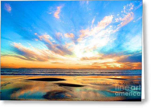 Cotton Candy Sunset Greeting Card by Margie Amberge