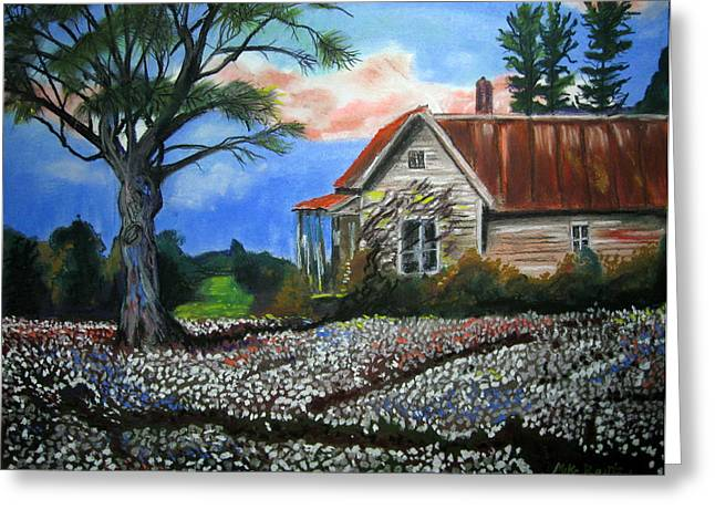Cotton Fields Back Home Greeting Card