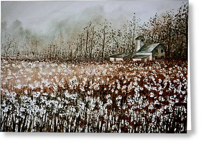 Cotton Field Greeting Card by MB Matthews