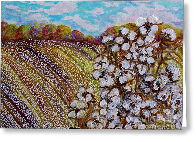 Cotton Fields In Autumn Greeting Card by Eloise Schneider