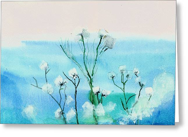 Cotton Poppies Greeting Card by Anil Nene