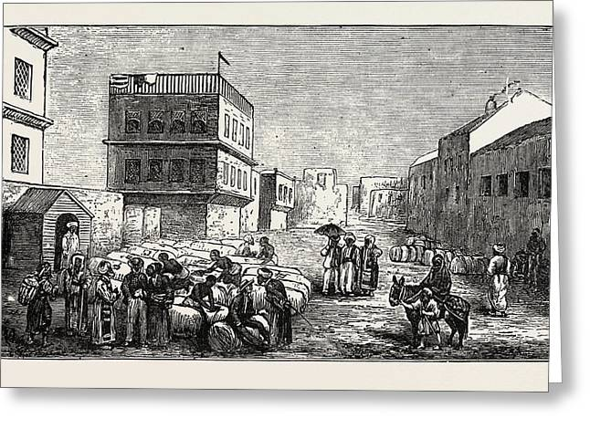 Cotton Yard, Minet El Basel, Alexandria, Drawing Samples Greeting Card