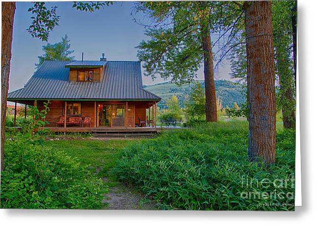 Cottonwood Cottage At Sunset Greeting Card