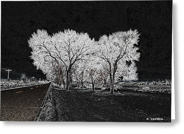 Greeting Card featuring the digital art Cottonwood Frost by Aliceann Carlton