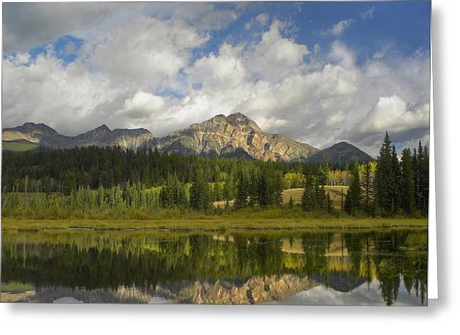Cottonwood Slough And Pyramid Mt Jasper Greeting Card
