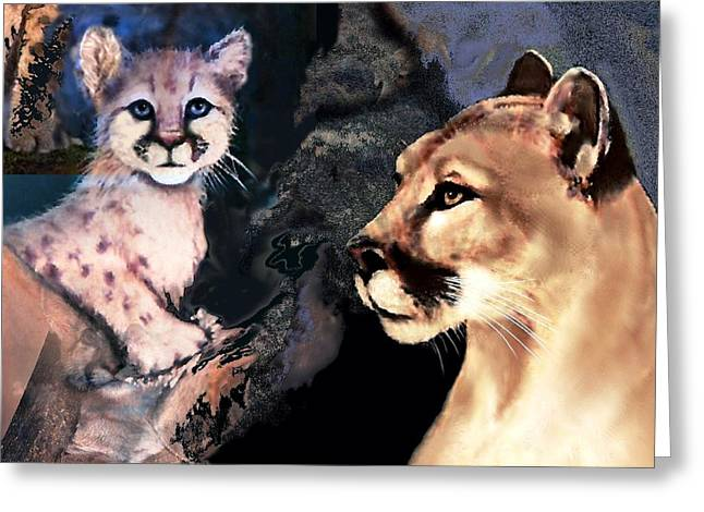 Cougar And Babe Greeting Card