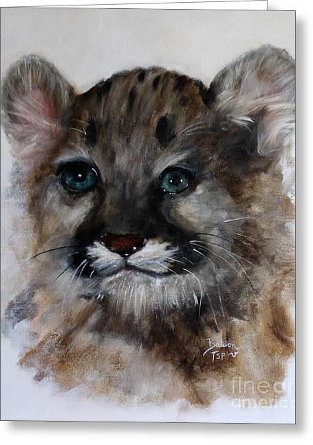 Antares - Cougar Cub Greeting Card by Barbie Batson