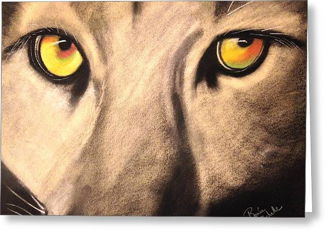 Cougar Eyes Greeting Card by Renee Michelle Wenker