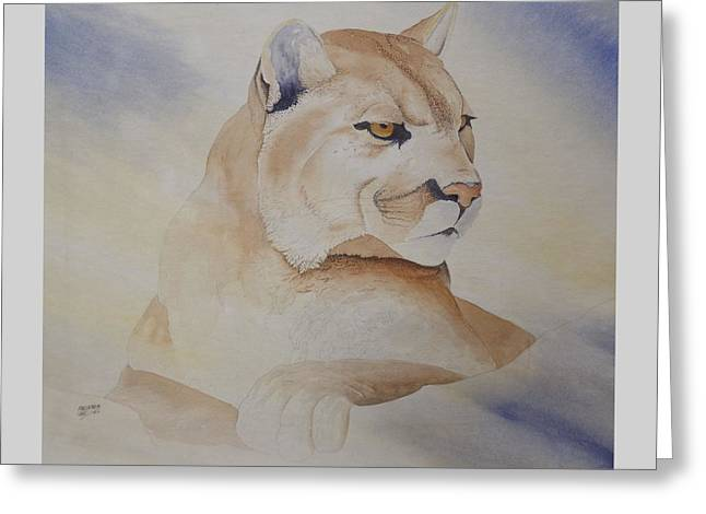 Cougar On Watch Greeting Card