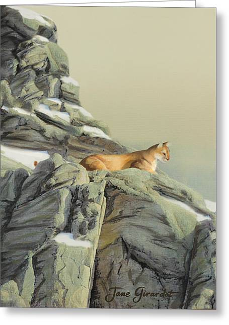 Greeting Card featuring the painting Cougar Perch by Jane Girardot