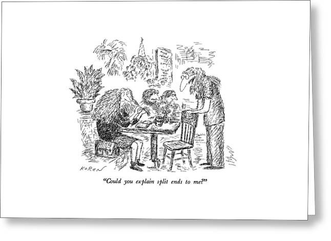 Could You Explain Split Ends To Me? Greeting Card by Edward Koren
