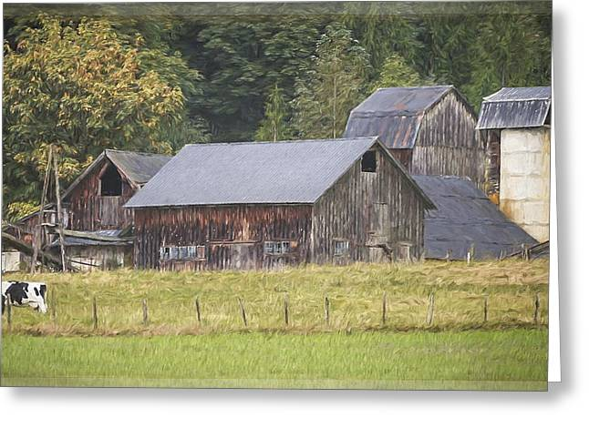 Greeting Card featuring the painting Country Art - Rustic Old Barns With Cow In The Pasture by Jordan Blackstone