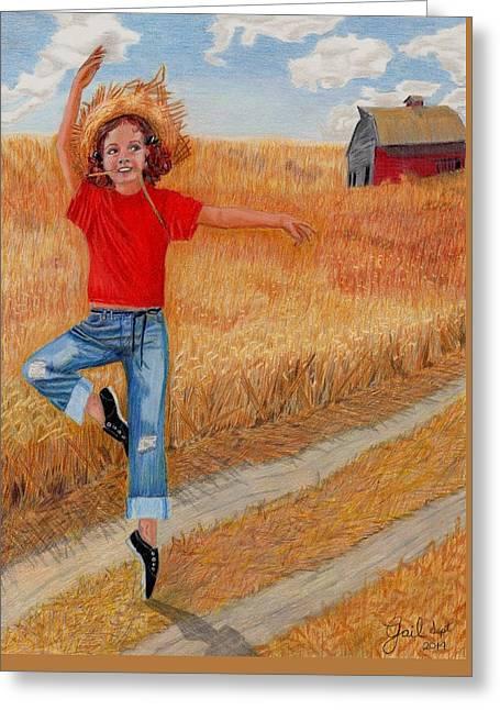 Country Ballerina Greeting Card by Gail Seufferlein