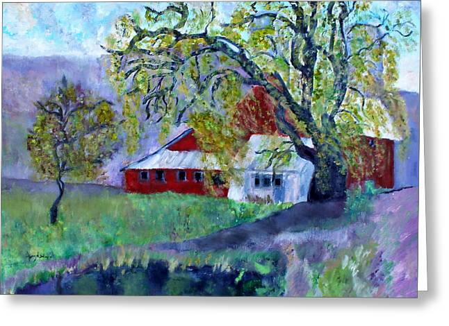 Greeting Card featuring the painting Country Barn by Aleezah Selinger