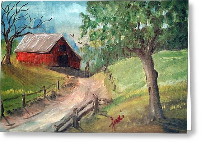 Country Barn Greeting Card by Judi Pence