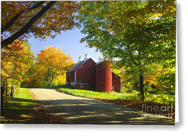Country Barn On An Autumn Afternoon. Greeting Card