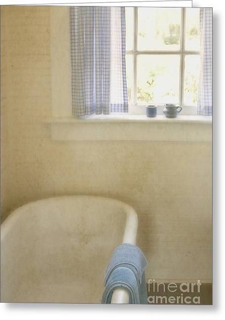 Country Bath Greeting Card by Margie Hurwich