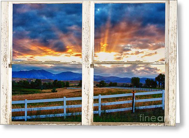 Country Beams Of Light Barn Picture Window View Greeting Card