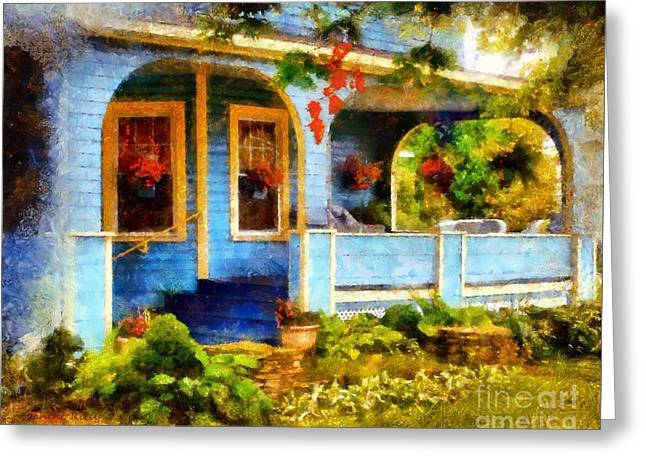 Country Blue Autumn Porch Greeting Card