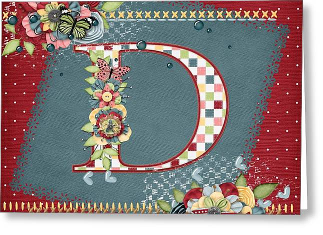 Country Charm Monogramed D Greeting Card by Debra  Miller