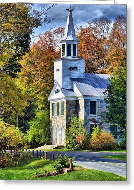 Country Church Greeting Card by Barbara Manis