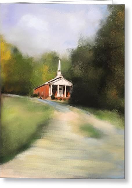 Country Church Greeting Card by Jai Johnson