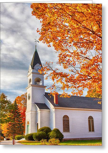 Country Church Under Fall Colors Greeting Card by Jeff Folger