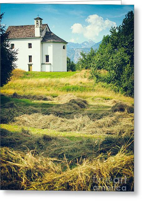 Greeting Card featuring the photograph Country Church With Hay by Silvia Ganora
