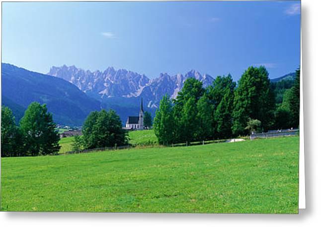 Country Churches Near Dachstein Gosau Greeting Card