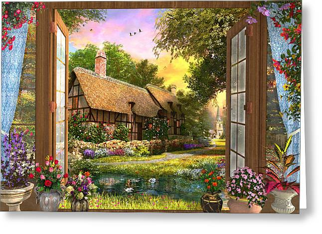 Greeting Card featuring the drawing Country Cottage View by Dominic Davison