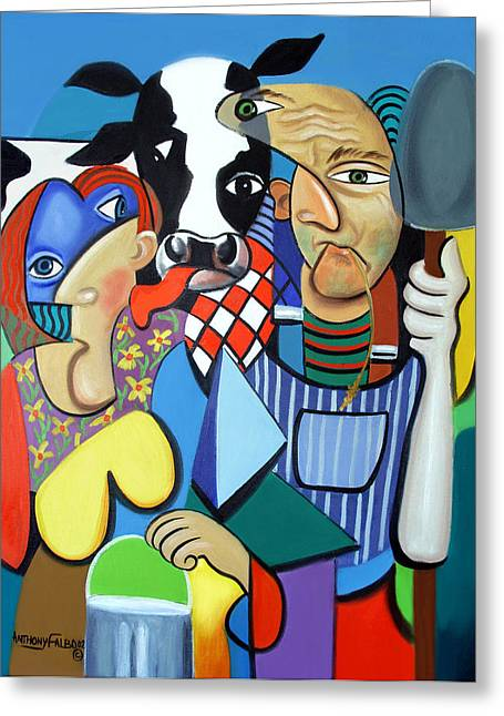 Country Cubism Greeting Card by Anthony Falbo
