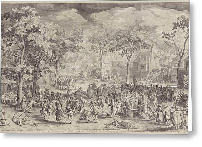 Country Fair, Ca. 1610 Greeting Card by William Isaacsz. Van Swanenburg And Robert De Baudous And Richard Lubbaeus