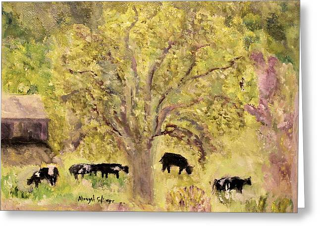 Greeting Card featuring the painting Country Farm by Aleezah Selinger