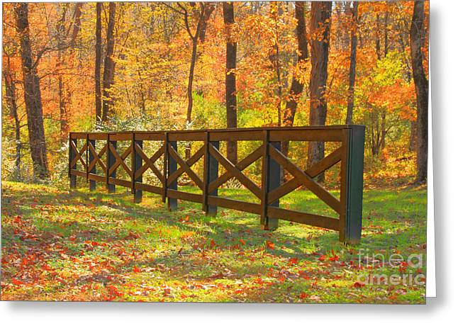 Country Fence Greeting Card by Geraldine DeBoer
